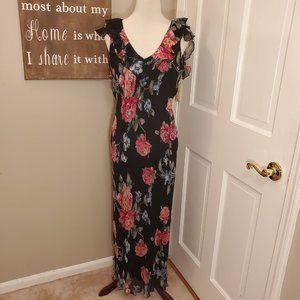 Boston Proper Silk Floral Maxi Dress